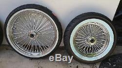 Ensemble De Rayons Chromés 21 X 3,5 Sd Et 16 X 3,5 Fat Ww Pneus Harley Flst Heritage 00 / Up