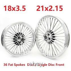 Fat Spoke 21 Et 18 Roues Chrome Jantes Set Pour Softail Fxst Dyna Fxdwg Sportster
