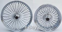 Fat Wheels 21 & Spoke 16 Avant / Arrière Chromé Harley Sportster Dyna Super Glide Low