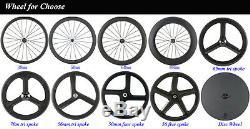 Full Carbon Tri Spoke Wheelset 56mm Route 3 Spokes Roues 700c Tri Jeu De Roues