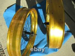 Gold 26 Fat Front & Rear Wheel Set 36 Spokes For Disc Brakes New