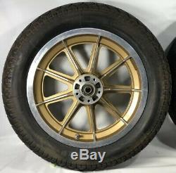Harley 9 Rayons Mag Wheels Gold Sturgis Daytona Anniversaire Sportster Dyna Fxr Hd