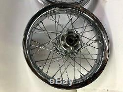 Harley Chrome Aluminium 16 A Parlé Avant De Profil Rond Jantes Des Roues Arrières