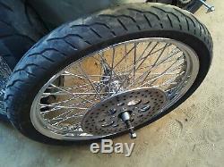 Harley Evo Softail Dyna Chopper 60 Rayon 21 18 En Chrome 180 Jantes De Roues De Pneus