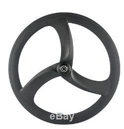 Haute Qualité 700c 50mm Carbone Vélo Tri Spoke Wheelset Vélo 3 Rayons Roues