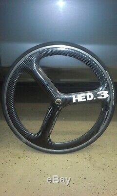 Hed Time Trial Wheelset, En Fibre De Carbone Tri-spoke Avant Et Arrière Du Disque