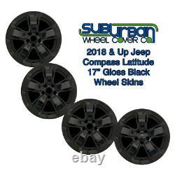 Jeep Compass Latitude 2018-2020 # 7017go 17 5 Spoke Gloss Black Wheel Skins Set