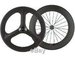 Le Vélo De Route Arrière De Roues De Carbone De Carbone De Roues De 88mm Arrière De Rayon De 70mm Tri A Parlé