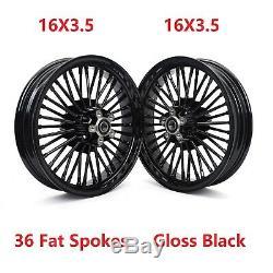 Noir 16 X 3.5 36 Fat Spoke Roues Arrière Avant Pour Harley Touring Softail Fxst