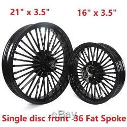 Noir 36 Fat Jante 21x3.5 & 16x3.5 Roues De Jantes Pour Dyna Softail Touring