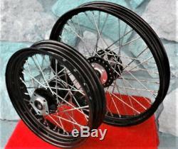 Noir 40 Spoke Avant / Arrière Jeu De Roues Harley Sportster 883 883c 1200 1200c 84-99