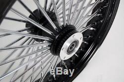 Noir / Chrome 48 Rayons De Roi 16x3.5 Sd Et 16x3.5 Roues Arrière Pour Harley