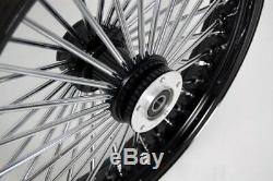Noir / Chrome 48 Rayons De Soleil 21x3.5 Sd À L'avant Et 16x3.5 Roues Arrière Pour Harley