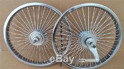 Nouveau 16 Lowrider Bicycle Dayton Wheels 72 Rayons Frontrear Set Bmx Chrome Schwinn