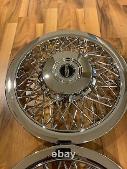 Nouveau Set De 1970-1996 Fits Lincoln Town Car Wire Spoke 15 Hubcaps Wheelcovers