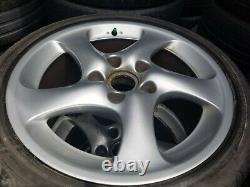 Porsche 996 Narrow Body Oem Genuine Turbo Twist Spoke 18 Wheel & Center Cap Set