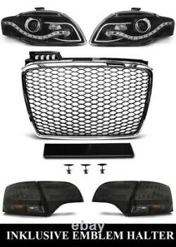 Pour Audi A4 B7 04-08 Rs4 Look Honeycomb Grill + Phares Led + Feux Arrière