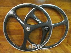 Rare Vintage Spin Tri Spoke Carbon Aero 700c 8 9 10 Clincher Vitesse Set Roue
