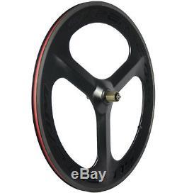 Roues De Carbone De Tri-rayon De 70mm Vélo De Route / Piste Cyclable Piste De Roues Clincher Wheelset Avant + Arrière