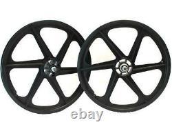 Skyway Bmx Wheels 20 Tuff Wheel S/b 6 Spoke Black Front & Rear Set