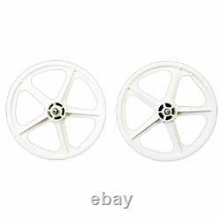 Skyway Tuff II 16 Bmx Bike Wheelset 5 Spoke Bolt 16 X 1.75 Blanc 3/8 Roue Libre