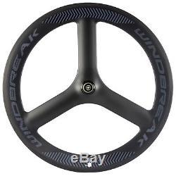 Tri Spokes Avant + Arrière Roues Vélo De Route Coupe-vent 65mm 3 Spokes Carbon Wheelset