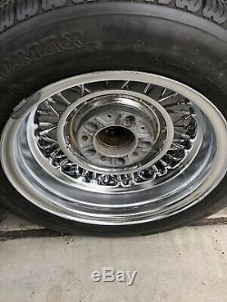 Tru Spoke Wire Wheels Avant 14x6 Arrière 15x8 Chevy Ford Hot Rod Vieille Ecole Propre