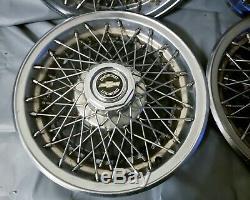 Vintage Set De 4 Chevy Caprice Classic Impala 15 Spoke Fil Hubcap Enjoliveurs